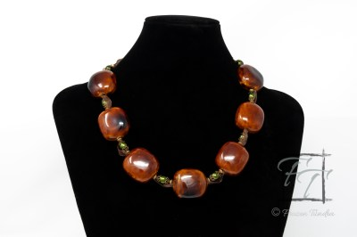 Gold and honey porcelain necklace