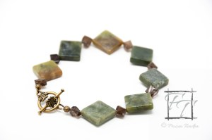 "serpentine ""new jade"" and smoky quartz bracelet with antiqued gold and brass"