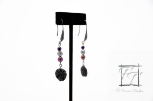 Sunset flow lava rock and purple iris glass gunmetal earrings