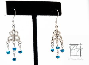Sparkly blue chandelier silver earrings