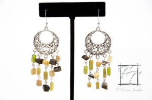 Green chandelier earrings with antiqued silver, vesuvianite, cats eye, and blackstone