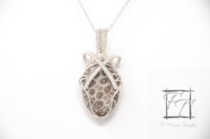 Atoll necklace: sterling silver wire-wrapped fossil coral