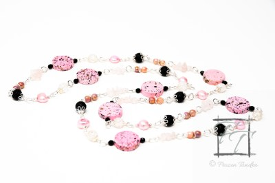 punk rock pink chain necklace