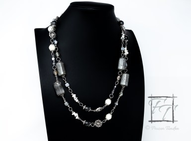Celestial Cloud: grey crackle rope necklace