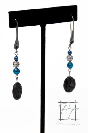 blue Czech druk glass and lava rock gunmetal earrings
