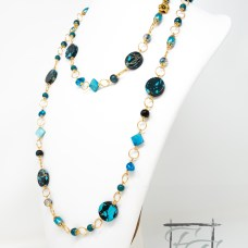 Cyanide: blue, black, and gold rope necklace