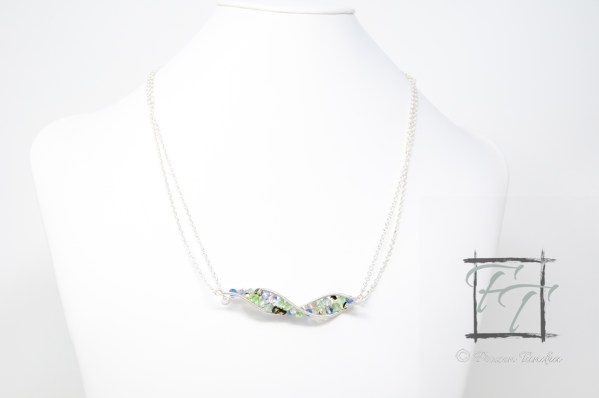 light silver DNA strand necklace