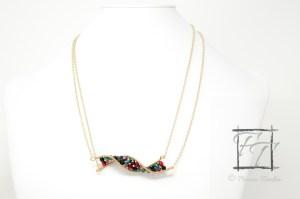 Gold/brass dark jewel tone DNA strand necklace with Czech glass