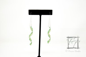 Light green silver DNA strand earrings