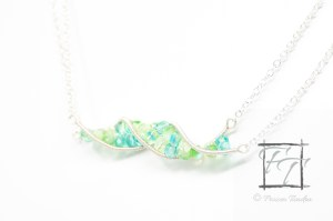 Blue, yellow, and green double helix DNA strand necklace in silver