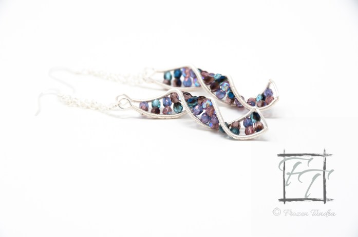 Purple and blue double helix DNA strand earrings with Czech glass and sterling silver earwires