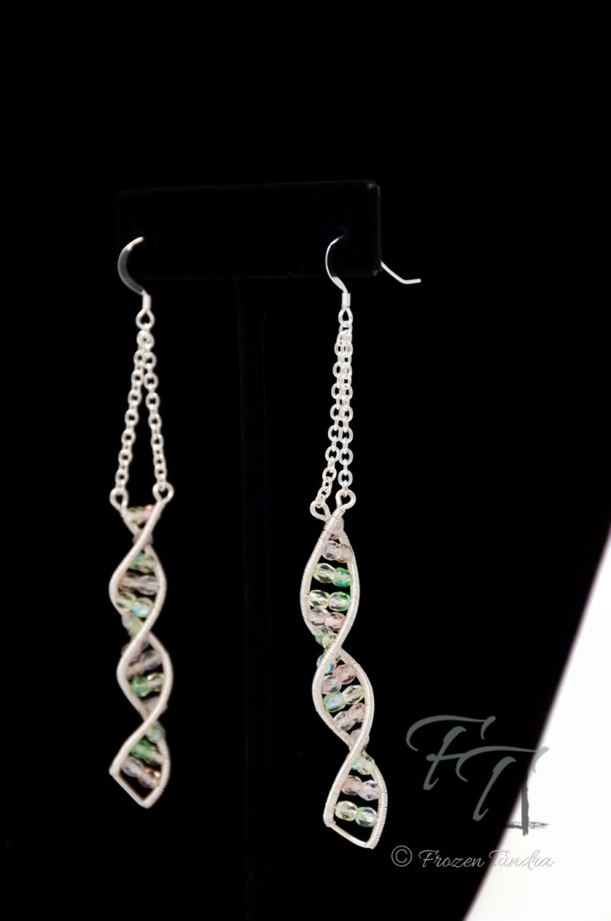 double helix DNA earrings in silver sugar and chiffon