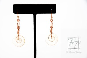 Trap Door Operculum shell earrings in copper, moon snail, Natica bibalteata