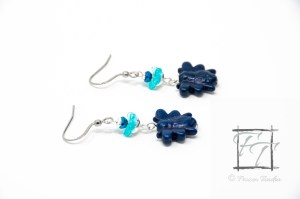 Blue and silver bee earrings (BEES!) in resin with glass and chinovski crystal