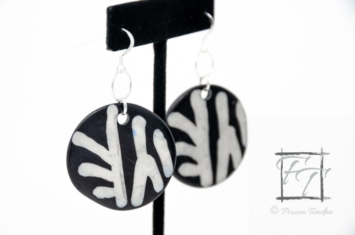 painted zebra bone earrings in sterling silver