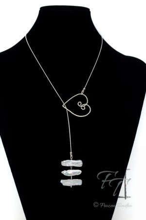 stick pearl sterling lariat - silver stacks