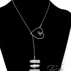 Silver Stacks stick pearl lariat necklace
