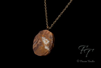 ancient life petrified wood pendant necklace antiqued brass ancient forest dusk