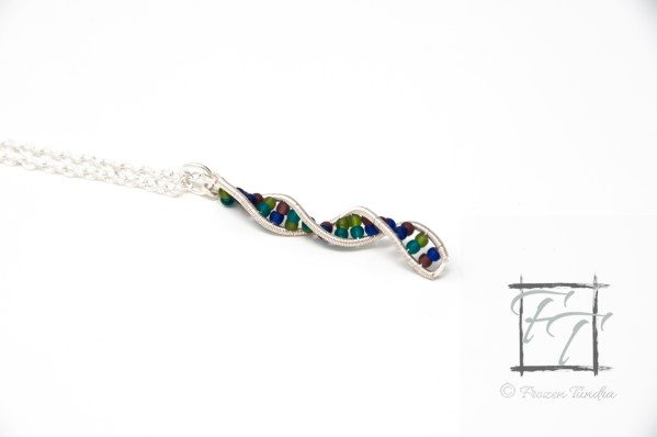 Silver double helix DNA strand necklace hand-wrapped with glass beads in four shades