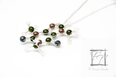 Copper and green caffeine molecule necklace with Czech druk glass and crackle glass