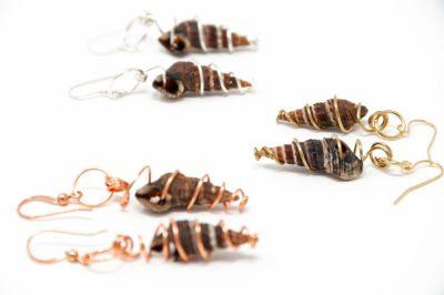 Best Friends: wrapped sea snail shell earrings