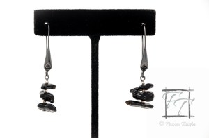 Impact earrings: stacked tektite with gunmetal and silver plate