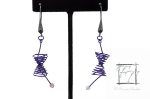 purple coated copper wire lightcone and worldline earrings with lapidolite lilac stone