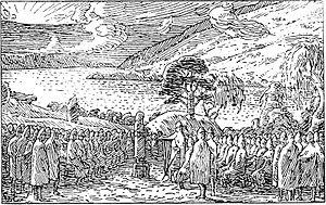 Koning Olav spreekt de boeren toe.