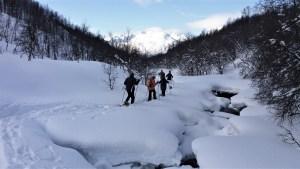 Nordmannvik Lyngen Alpen sneeuwschoenwandeling Fru Amundsen