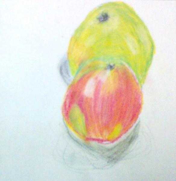 www.FruBilledkunst.dk - stilleben - æbler - farveblyant
