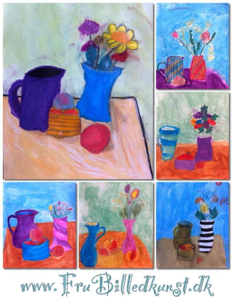 Still life lesson 3rd grade - www.FruBilledkunst.dk