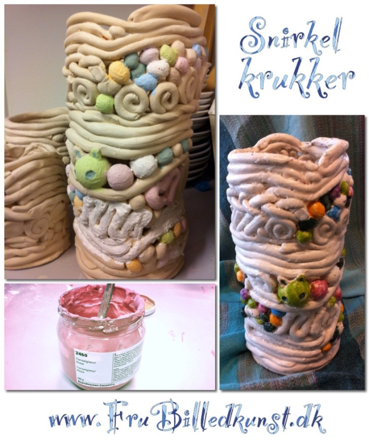 Coil pots with glaze - www.FruBilledkunst.dk