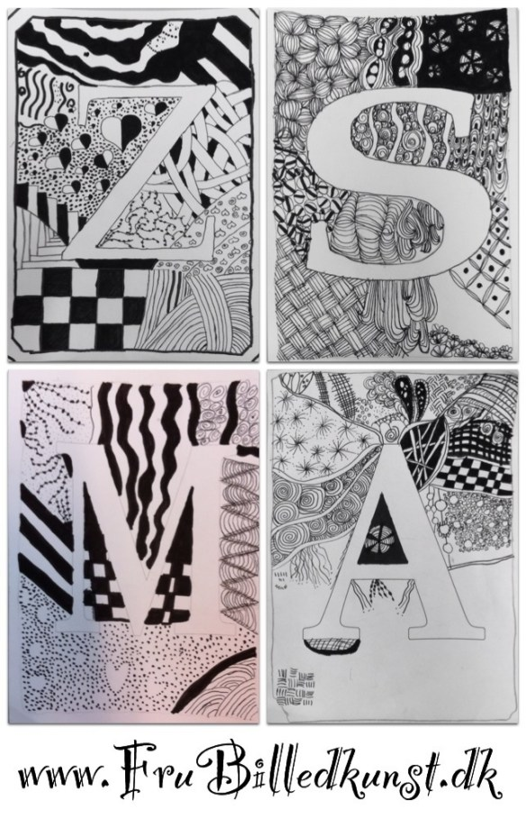 www.FruBilledkunst.dk - doodle letters