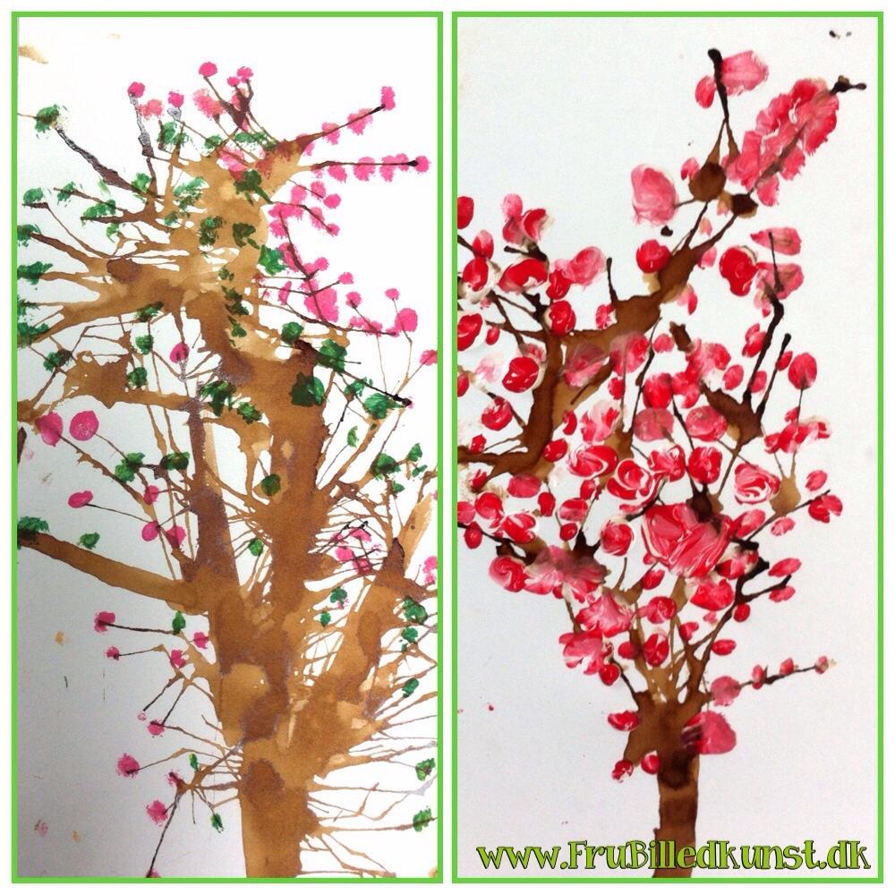 www.FruBilledkunst.dk - japanske kirsebær - japanese cherry blossom tree art lesson