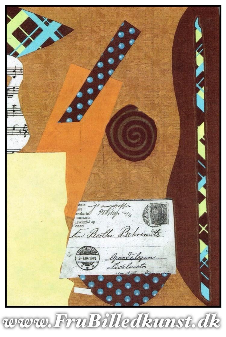 www.FruBilledkunst.dk - Picasso guitar collage art lesson 3rd grade