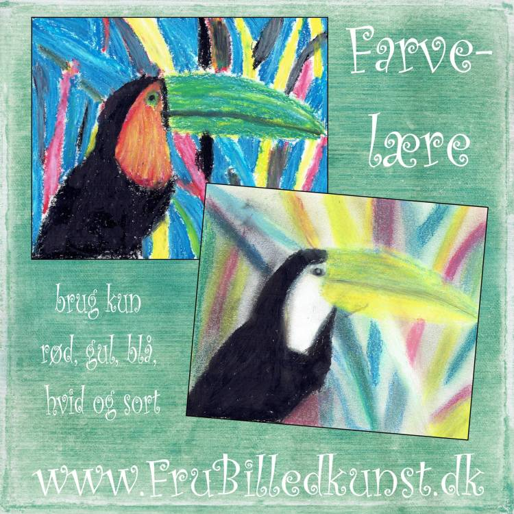 www.FruBilledkunst.dk - toucans only paintet in red, blue and yellow