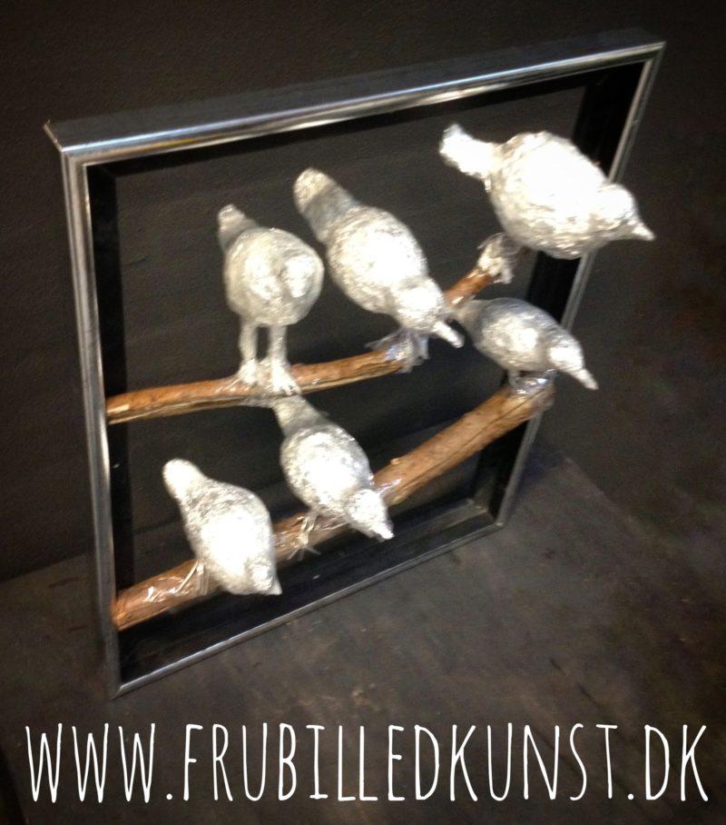 Sølvfugle lavet af 5.klasse - close up - www.FruBilledkunst.dk