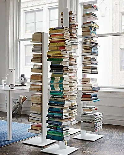 Creative Book Spine Design : Vertical spine bookcases