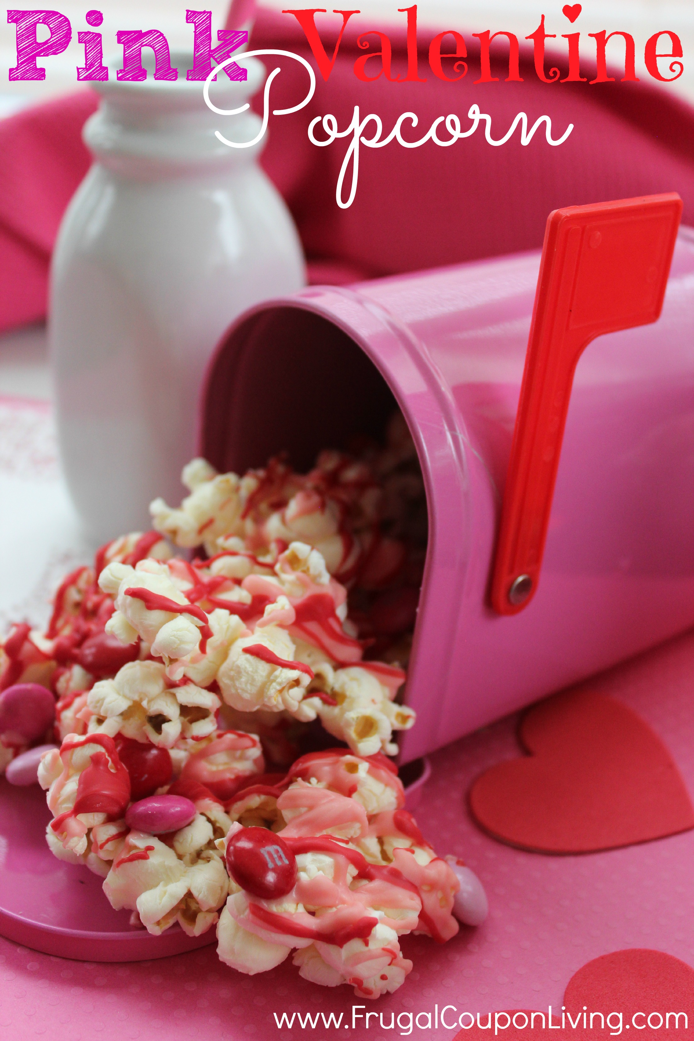 Pink Candy Valentine Popcorn February Kids Snack And Treat