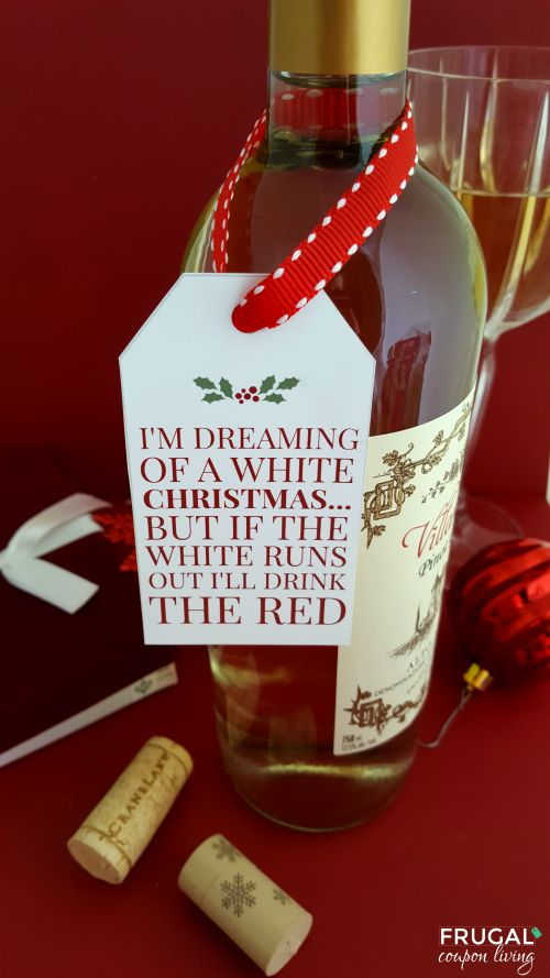 White Christmas Wine FREE Printable Tag