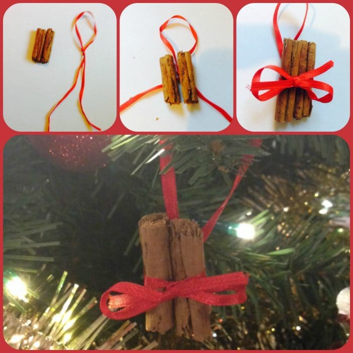 Homemade cinnamon stick tree decorations