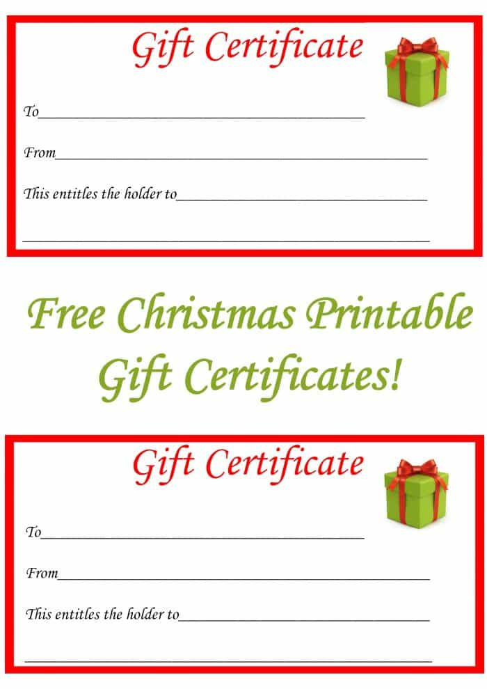 free christmas printable gift certificates the diary of a