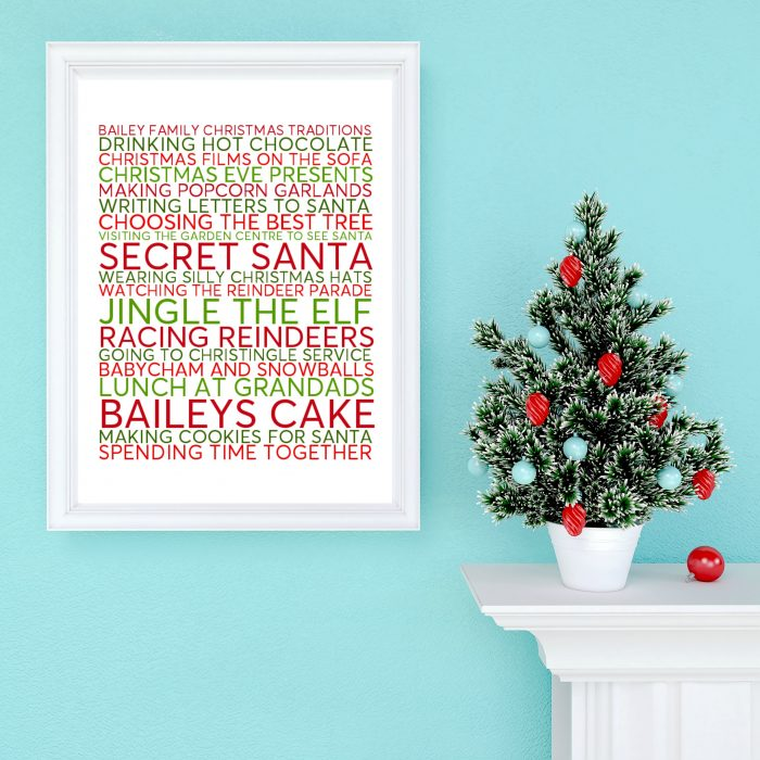 Christmas Family Traditions Personalised Poster