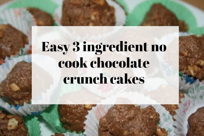 Easy 3 ingredient no cook chocolate crunch cakes….