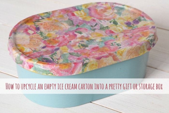 How to upcycle an empty ice cream carton into a pretty gift or storage box….
