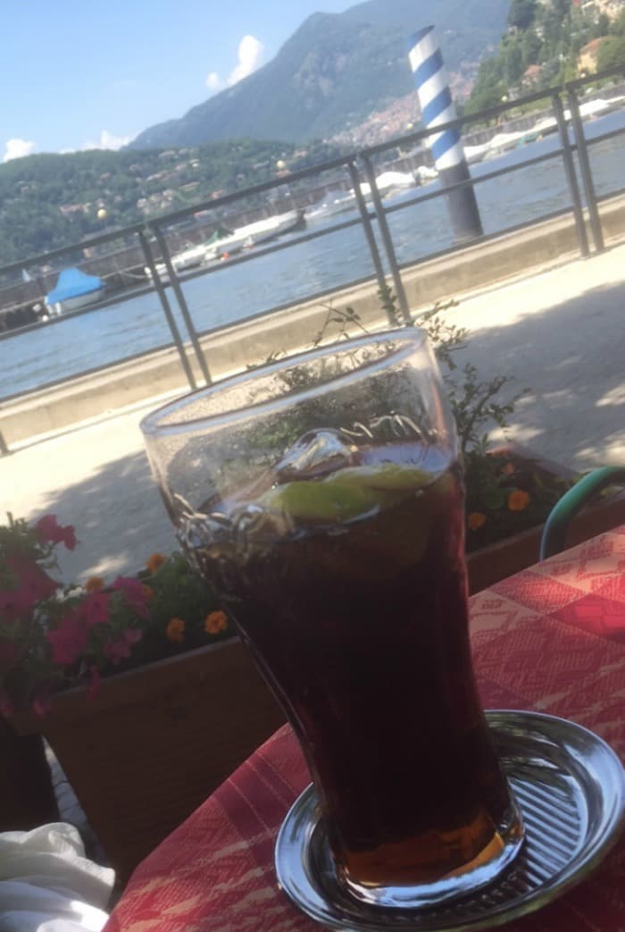 A drink at Lake COmo near Milan