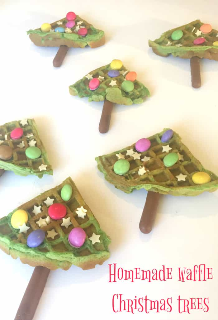 Homemade waffle Christmas trees - perfect for a Christmas Eve Breakfast!