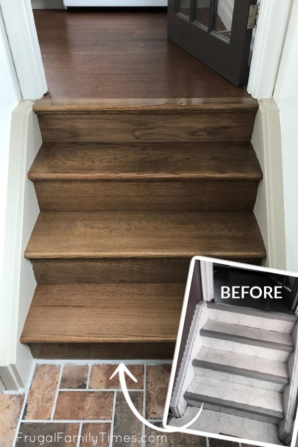 Diy Stairs Makeover How To Install Wood Treads Risers Over Old   Installing Hardwood On Stairs   Tile Riser White Landing Tread   Combined Wood   Brazilian Cherry Hardwood Stair   Cream Wood   Bottom Stair