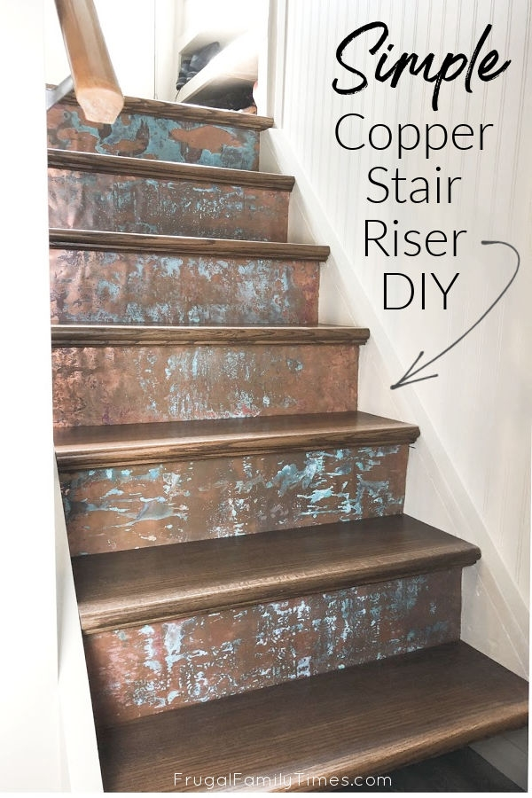 How To Make Copper Stair Risers Diy Stair Makeover Frugal   Stained Stairs And Risers   Two Tone   Natural   Bead Board   Gray Painted   Finished