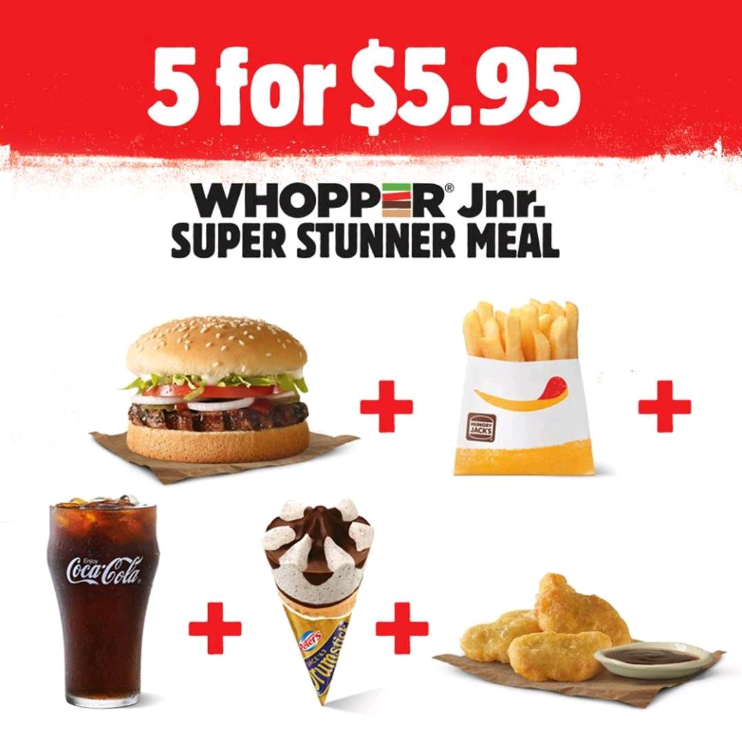 DEAL: Hungry Jack's 5 For $6.45 Super Stunner